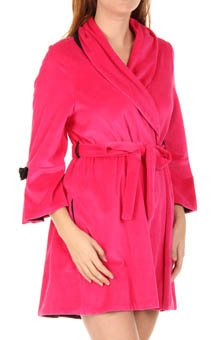 Velour Robe with Satin Rosettes