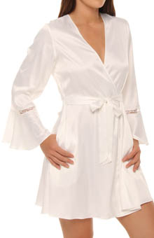Sultry Stretch Satin And Lace Wrap Robe