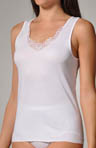 Charm Cotton V-neck Lace Trim Tank