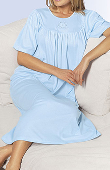 Soft Cotton Short Sleeve Night Shirt Gown