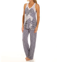 Carole Hochman Midnight Mixed Prints Long Pajama Set 139800