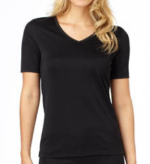Cuddl Duds Softwear Lace Edge Short Sleeve V-Neck 8312435