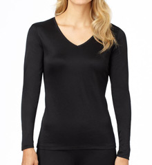 Cuddl Duds Softwear Lace Edge Long Sleeve V-Neck Top 8512435