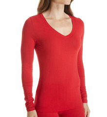 Cuddl Duds Softwear with Stretch Long Sleeve V Neck 8912416