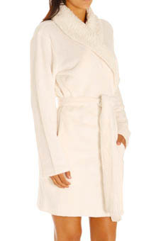 Dearfoams Sherpa Trim Shawl Collar Robe