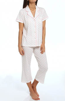 Dearfoams Short Sleeve Notch Collar Printed PJ Set 141103