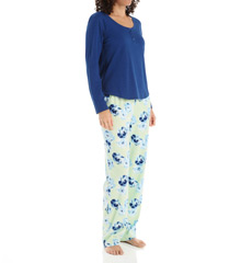 Dearfoams Scoop Henley And Fleece Pant PJ Set 144104