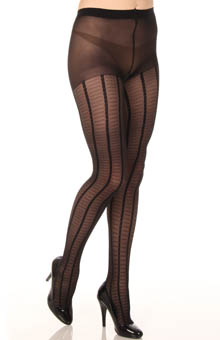 Feminine Fine Gauge Plaid Control Top Pantyhose
