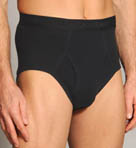 Black and Assorted Fly Front Brief - 4 Pack