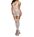 Dreamgirl Floral Stretch Lace Halter Dress With Thigh Tights 0074