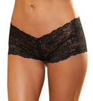 Dreamgirl Stretch Lace Open Crotch Panty with Lace Up Detail 1326