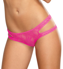 Dreamgirl Swirl Stretch Mesh Strappy Panty With Open Back 1394