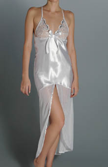 Dreamgirl Satin and Chiffon Gown with Sequin Cups 5326 - Dreamgirl Sleepwear