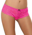 Dreamgirl Stretch Lace Open Crotch Overlap Satin Bow Panty 7177