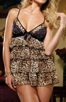 Leopard Chiffon Tiered Babydoll and Matching Thong