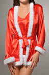 Satin Robe with Faux Fur and Matching Chemise