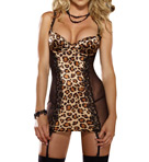 Dreamgirl Leopard Print Stretch Satin Underwire Slip 7933