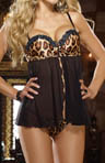 Dreamgirl Leopard Print Satin Babydoll With Matching Thong 7935