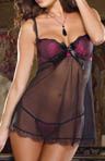 Dreamgirl Satin Lace Underwire Babydoll With Matching Thong 7941