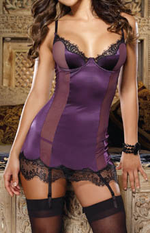 Dreamgirl Stretch Satin Babydoll with Matching Thong