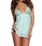 Stretch Lace Babydoll With Matching Thong Image