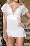 Stretch Lace Babydoll Flower and Matching Thong