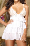 Dreamgirl Chiffon Tiered Ruffle Babydoll and Matching Thong 8055