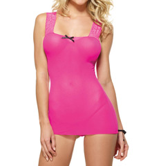 Dreamgirl Stretch Mesh Lace-Up Back Chemise With G-String 8089