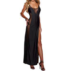 Dreamgirl Silky Microfiber And Mesh Gown With Matching Thong 8631