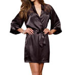 Dreamgirl Satin And Lace Charmeuse Kimono With Plunging Back 9383