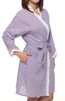 Beautiful Heart Short Seersucker Wrap Robe