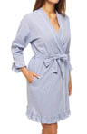 Eileen West Starfish Cove Seersucker Short Wrap Robe 5114477