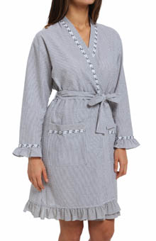 Eileen West Winsome Muse Seersucker Short Wrap Robe 5114567