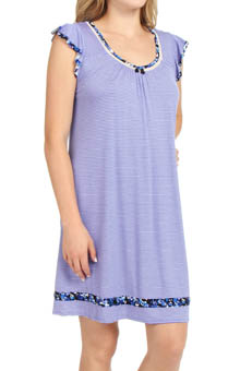 Ellen Tracy Blue and Me Forever Short Sleeve Flutter Chemise
