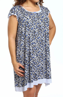 Ellen Tracy Welcome To Peri-dise Short Sleeve Flutter Chemise 8015313