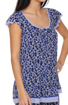 Ellen Tracy Blue Me A Kiss Short Sleeve Top