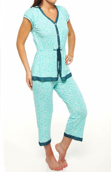 Ellen Tracy Anyway Anywhere Short Sleeve Cropped PJ