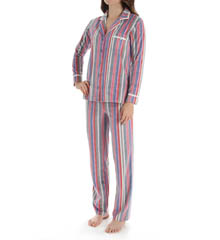 Ellen Tracy Fleece Stripe PJ Set 8715360