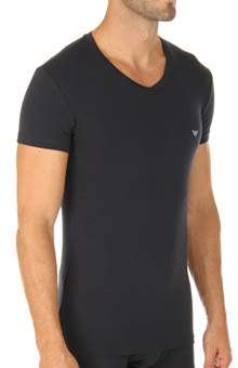 Basic Stretch Cotton V-Neck Tee