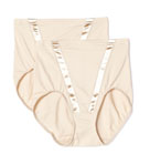 Flexees Satin 2 Pack Hi Waist Brief Panty 2864