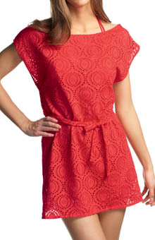Cha Cha Slash Neck Crochet Look Tunic
