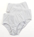 Ladies White Cotton Brief Panties - 3 Pack