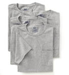 Mens Core 100% Cotton Grey Pocket Tee - 4 Pack