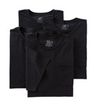 Big Man Core 100% Cotton Black Pocket Tee - 4 Pack