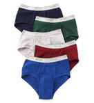 Mens Assort Mid Rise 100% Cotton Briefs - 5 Pack