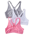 Shirred Front Racerback Sports Bra - 3 Pack