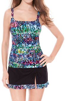 Profile Aztec Printed Tankini D/E Cup Swim Top