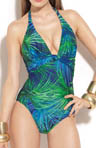 Jungle Fever Halter V-Neck One Piece Swimsuit