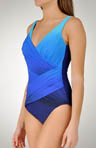 Ombre Goddess Surplice One Piece Swimsuit