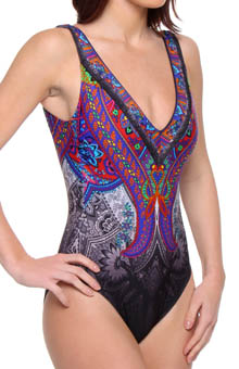 Folklore V-neck Tank One Piece Swimsuit